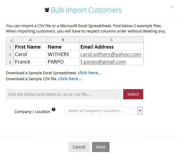 Bulk Import Customers