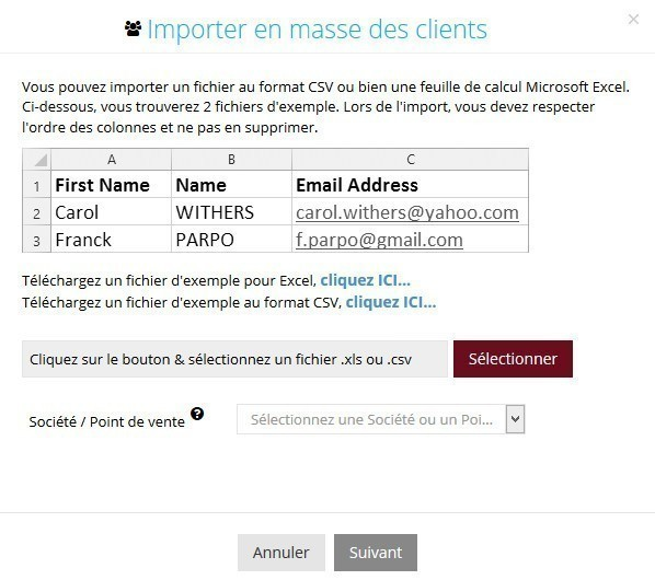 Importation en masse de clients